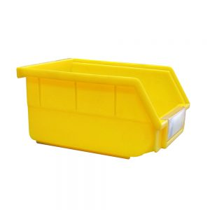 yellow parts bin